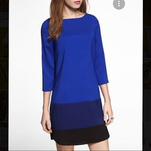 Express Monochrome Blue Colorblock Shift Dress NWT